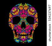 day of the dead psychedelic... | Shutterstock .eps vector #534237697