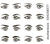 set of black icons of eyes and... | Shutterstock .eps vector #534258577