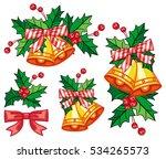 set of golden jingle bells.... | Shutterstock . vector #534265573