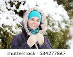 woman in a park in winter | Shutterstock . vector #534277867