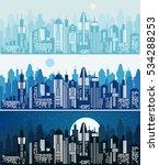 set of cityscape background.... | Shutterstock .eps vector #534288253