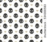 seamless pattern with skulls... | Shutterstock .eps vector #534300583
