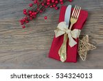 christmas cutlery with gold... | Shutterstock . vector #534324013