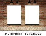 duo blank frame on brick wall... | Shutterstock . vector #534326923