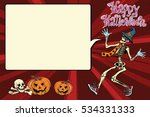 happy halloween funny skeleton... | Shutterstock . vector #534331333