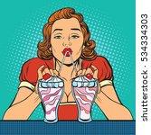 woman drinking milkshake ice... | Shutterstock . vector #534334303