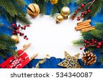 christmas border with... | Shutterstock . vector #534340087