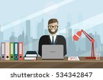 business man with office things.... | Shutterstock .eps vector #534342847