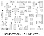 home furniture top view  | Shutterstock .eps vector #534349993
