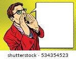 pop art business man screaming. ... | Shutterstock . vector #534354523