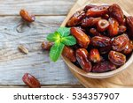 dried date and green mint in a... | Shutterstock . vector #534357907