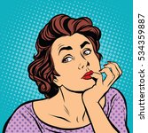 pop art lady thinks retro .... | Shutterstock . vector #534359887