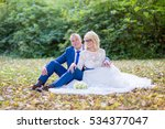 beautiful happy couple bride and groom sitting in autumn leaves