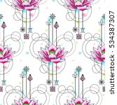 abstract floral techno seamless ... | Shutterstock .eps vector #534387307