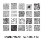 Hand drawn textures and brushes. Big artistic collection of design elements: graphic patterns, natural ornaments, wavy lines, geometric symbols made with ink. Isolated vector set. | Shutterstock vector #534388543