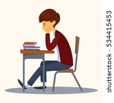 sad student sitting in class.... | Shutterstock .eps vector #534415453