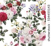 Stock photo seamless floral pattern with flowers watercolor 534455143