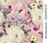 seamless floral pattern with... | Shutterstock . vector #534455173