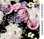 Stock photo seamless floral pattern with flowers watercolor 534455263