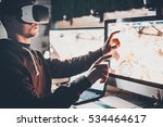 experiencing virtual reality.... | Shutterstock . vector #534464617