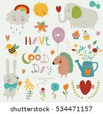 'have a good day' set with cute ... | Shutterstock .eps vector #534471157