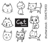 vector set of drawing cute cat... | Shutterstock .eps vector #534475453