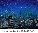 winter city silhouette  office... | Shutterstock .eps vector #534492043