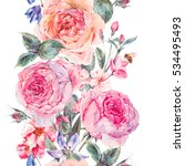 vintage garden watercolor... | Shutterstock . vector #534495493