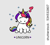 vector card with cute unicorn.... | Shutterstock .eps vector #534532807
