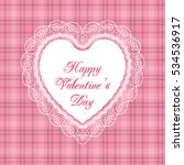 heart shaped frame with lace... | Shutterstock .eps vector #534536917
