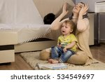 mother hugs a child  soothing ... | Shutterstock . vector #534549697
