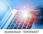 woman hand touching laptop... | Shutterstock . vector #534556657