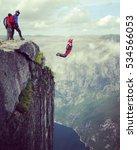 freedom  flight. base jumping... | Shutterstock . vector #534566053