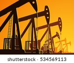 silhouette of working oil pumps ... | Shutterstock .eps vector #534569113