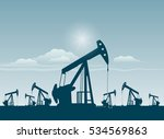 silhouette of working oil pumps ... | Shutterstock .eps vector #534569863