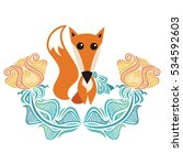 cute cartoon fox and flowers.... | Shutterstock .eps vector #534592603