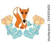 cute cartoon fox and flowers.... | Shutterstock .eps vector #534592603