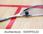 squash racket and ball on the... | Shutterstock . vector #534595123