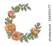 hand drawn garden flower wreath.... | Shutterstock .eps vector #534595177