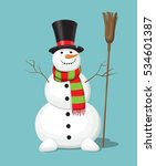 christmas snowman with the top... | Shutterstock .eps vector #534601387