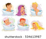 small children take a bath. | Shutterstock .eps vector #534613987