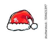 isolated vector santa hat... | Shutterstock .eps vector #534621397