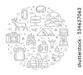 vector line concept for hiking. ...   Shutterstock .eps vector #534637063
