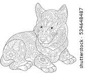 stylized cute husky dog  puppy .... | Shutterstock .eps vector #534648487