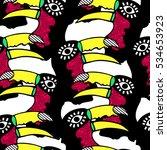 toucan pattern exotic hand... | Shutterstock .eps vector #534653923