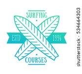 surfing courses emblem  badge ...   Shutterstock .eps vector #534664303