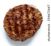 single grilled hamburger patty... | Shutterstock . vector #534672667