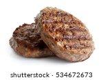 two grilled hamburger patties... | Shutterstock . vector #534672673