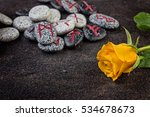 Stone Runes And Rose On The...