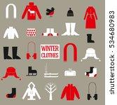 vector winter clothes. sweater...   Shutterstock .eps vector #534680983